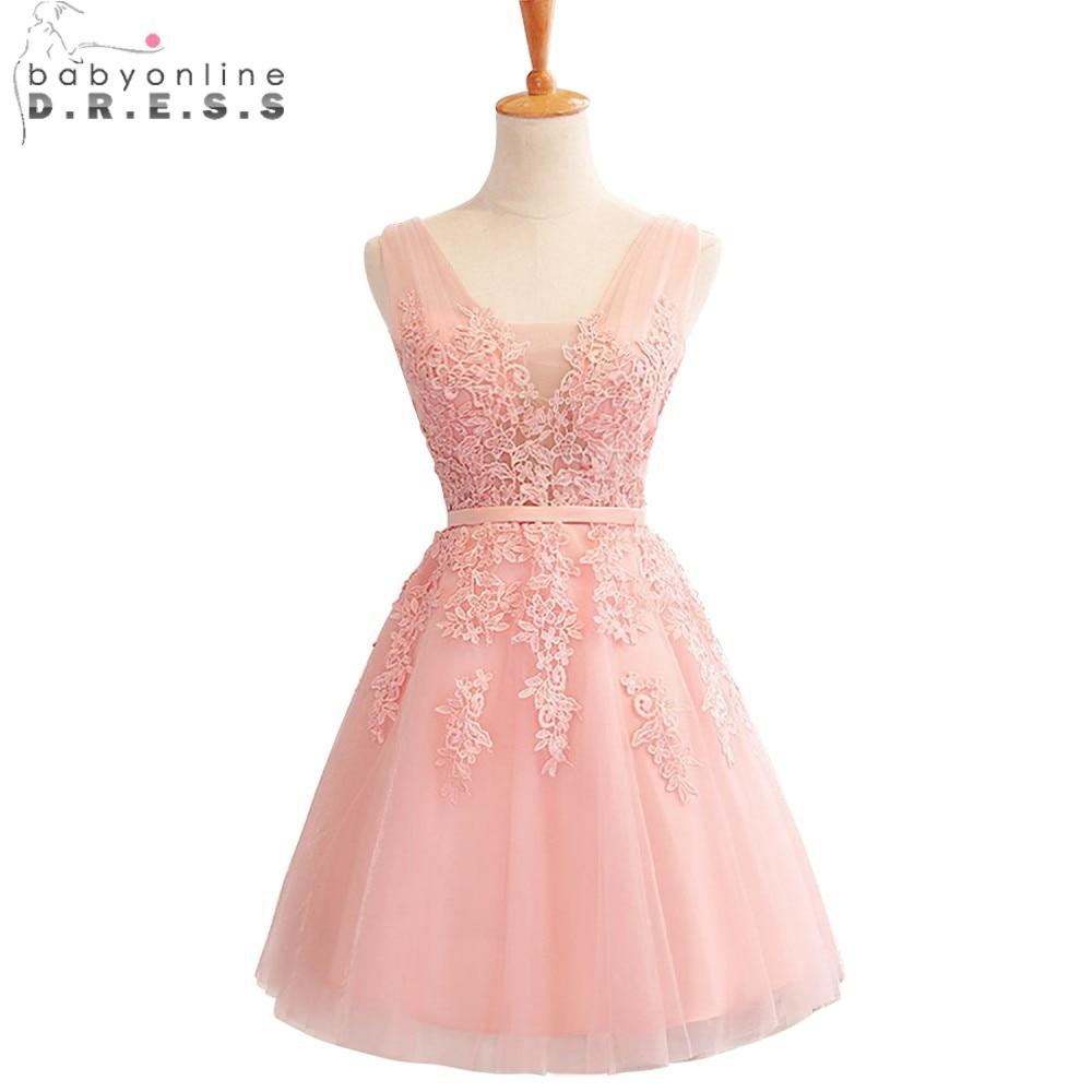Babyonline Stylish Burgundy Short Prom Dresses Gold Lace A line ...