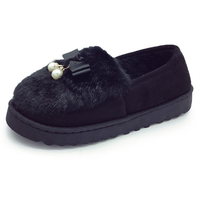 New 2017 Winter Shoes Women Fur Flats Shoes Round Toe Warm Fashion Women's Flats Cute Faux Fur Slip On String Bead Decor Loafers new 2016 european brand designer winter warm flats black leather rabbit fur loafers metal decorated hot sell flat shoes women