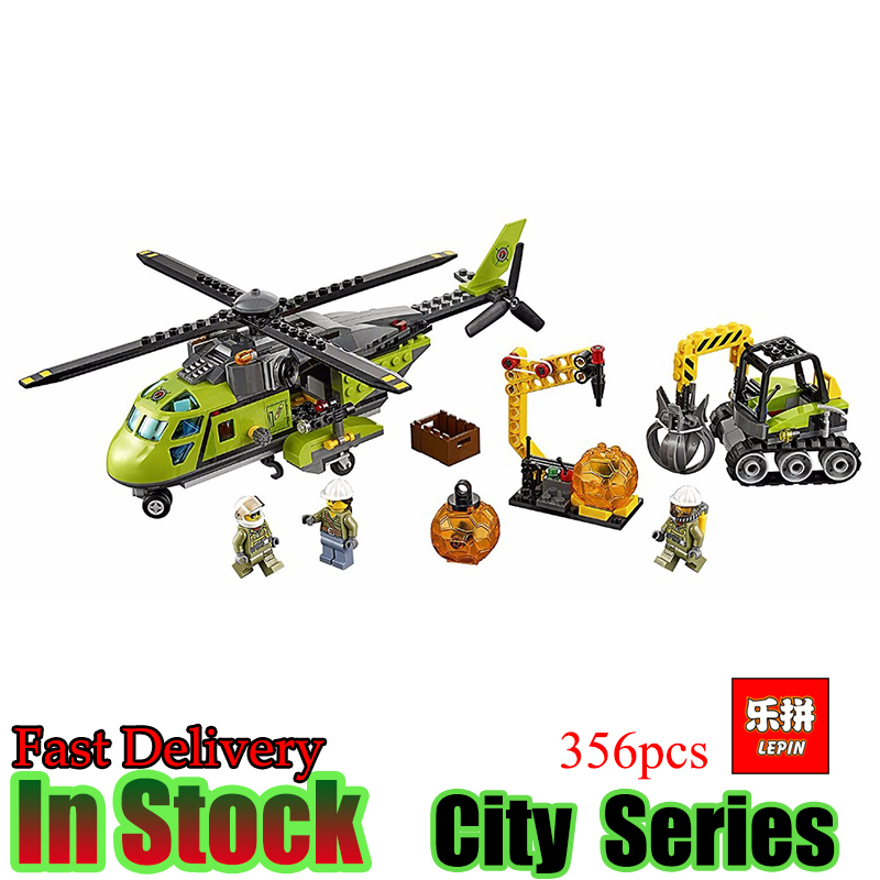 LEPIN 02004 City Series Helicopter Volcanic Expedition Blocks Compatible With 60123 Boy Assembling DIY Toys for Children Gift model building blocks kits compatible with lego city 60123 lepin 02004 helicopter volcanic expedition brick model building toys