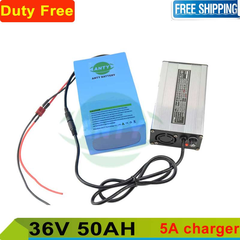 Scooter Battery 36v 50ah Rechargeable eBike battery 36v 1000w lithium battery pack + 5A charger + 50A BMS Free shipping and Duty free shipping 50a discharge rate lithium battery 48v 50ah 18650 rechargeable li ion battery pack with 2000w bms and charger