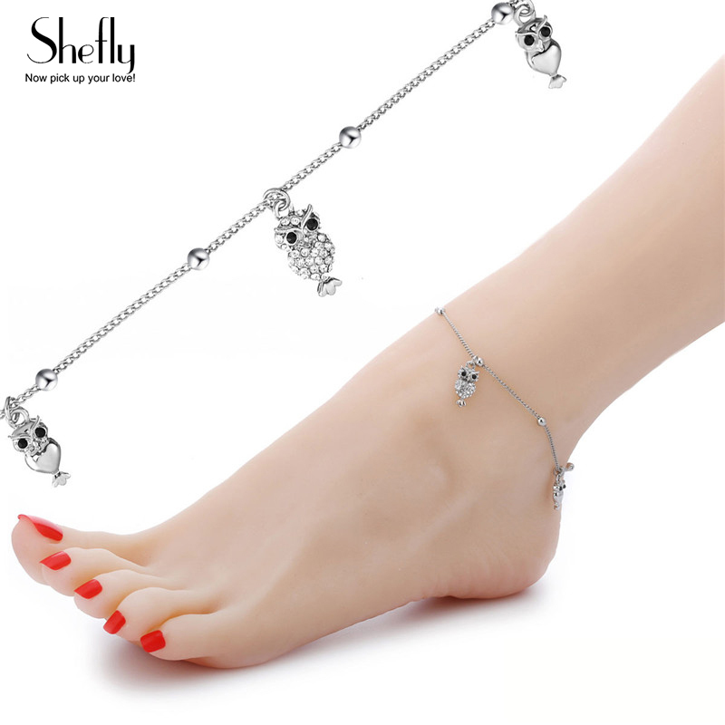 Us 3 14 25 Off 2018 New Cute Animal Owl Charms Anklets Women Beads Cz Zircon Music Note Ankle Bracelet Silver Color Female Beach Foot Jewelry In