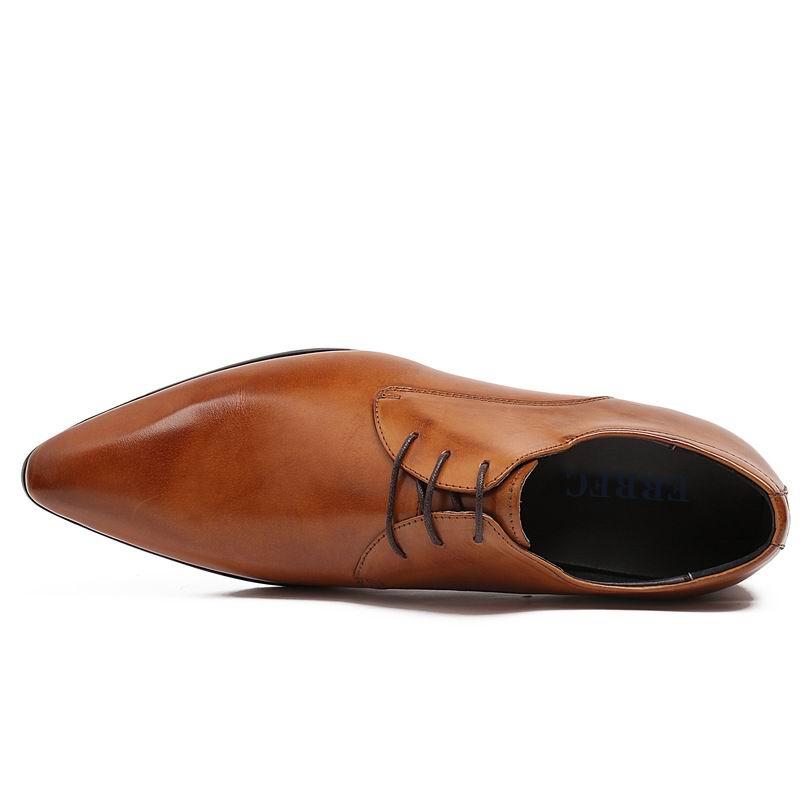 Negro Vestir De Encaje Hombres Zapatos Estrecha Hombre Para Auténtico Errfc 44 marrón 37 Chaussure Marrones Negro Oficina Cuero Calzado Punta Fdn80dIxw