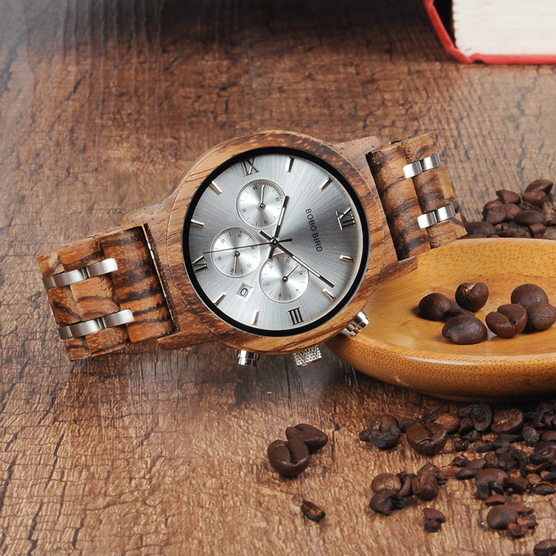 Bamboo Wooden Business Luxury Stop Watch w/ Stainless Steel Band 3