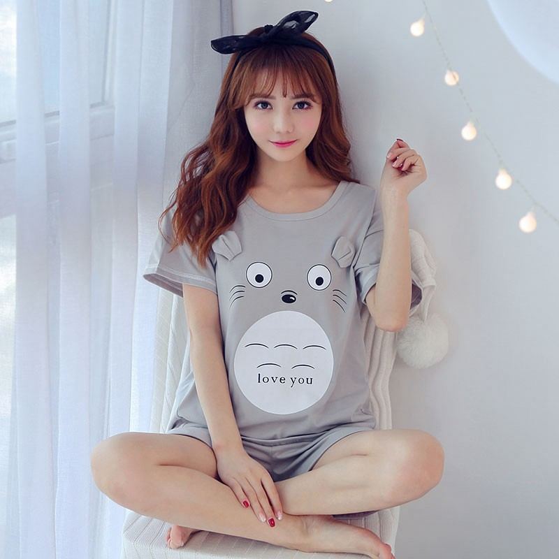 2019 New Summer Short Sleeve Pajama Sets For Women Cute Girls Cartoon Totoro Shorts Sleepwear Homewear Pijama Mujer Home Clothes