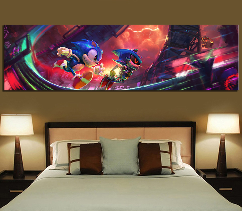 1 Piece Digital Art Painting Super Sonic Video Games Poster Sonic The Hedgehog Artwork Canvas Paintings Wall Art for Home Decor 1