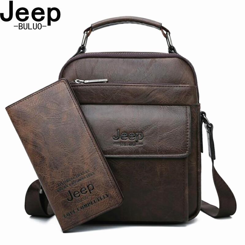 JEEP BULUO Brand Men's Messenger Fashion Split Leather For Men Tote Bag Men Shoulder Bags High Quality Handbags New 2PC/Set