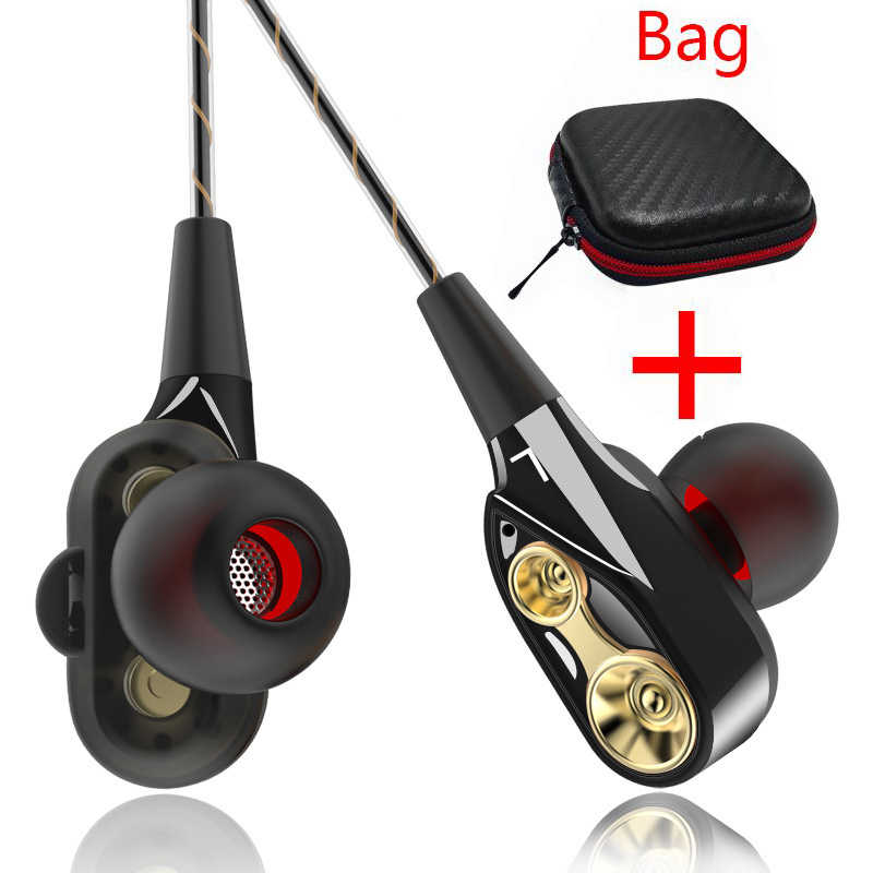 PTM Double Unit Drive Earphone dengan Kontrol Volume Subwoofer Headset Gaming Sport Earbud Headphone untuk Ponsel Fones De Ouvido