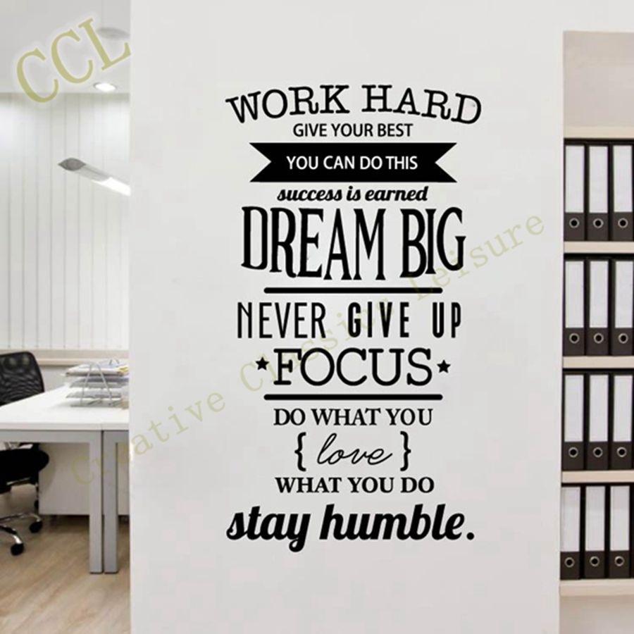 Free shipping motivation wall decals office room decor never give free shipping motivation wall decals office room decor never give up work hard dream big inspirational quote wall stickers in wall stickers from home amipublicfo Image collections