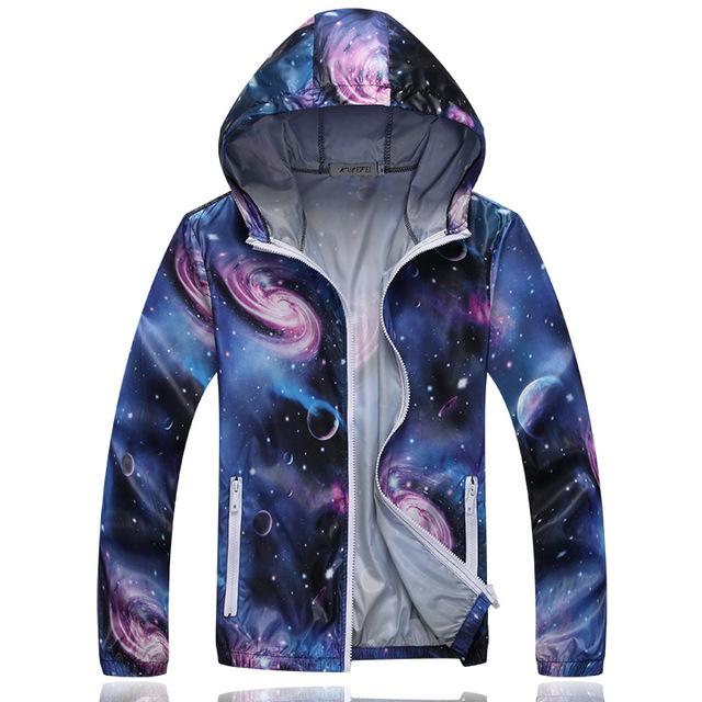 3XL 2016 Mujeres del otoño del resorte con capucha chaqueta impresa rompevientos chaquetas amantes de secado rápido de manga larga escudo KM1440