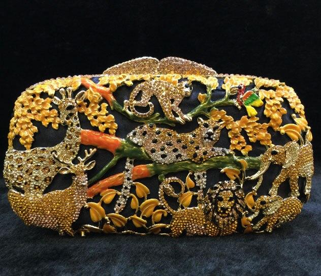 Sac de soirée de luxe en cristal d'or avec diamants pochette pour femmes