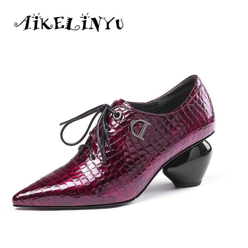AIKELINYU Autumn Classics Women Stone Grain Pumps Strange Style Heel Ladie Pointed Toe Sexy Party Office Shoes Black