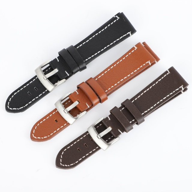 18 20 22 24mm Man Women Leather Wrist Watch Band Strap Belt Durable Soft Pin Buc