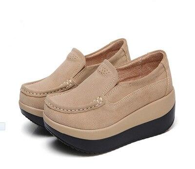 SWYIVY/Женская обувь на толстой подошве; коллекция года; сезон лето; большие размеры 42; обувь для танцев из натуральной кожи; женская обувь для похудения - Цвет: Коричневый