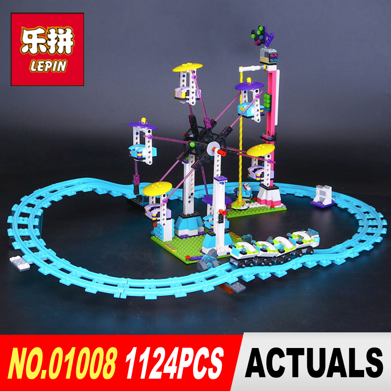 LEPIN 01008 friends 1124pcs the Amusement park roller coaster Model Building blocks Bricks Compatible Toy Christmas Gift 41130 2016 new lepin 01008 1124pcs amusement park coaster building kits girl friend blocks bricks toys compatible gift 4113
