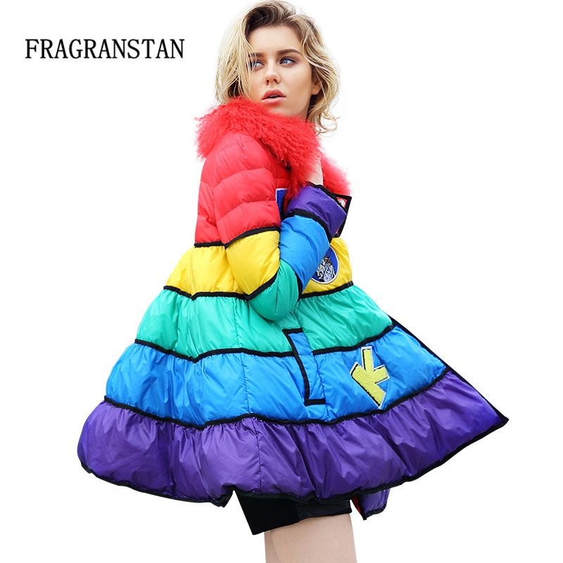 2018 Women Winter New Skirt Design Real Wool Collar Down Jacket Funny Patch Designs Thick Luxurious