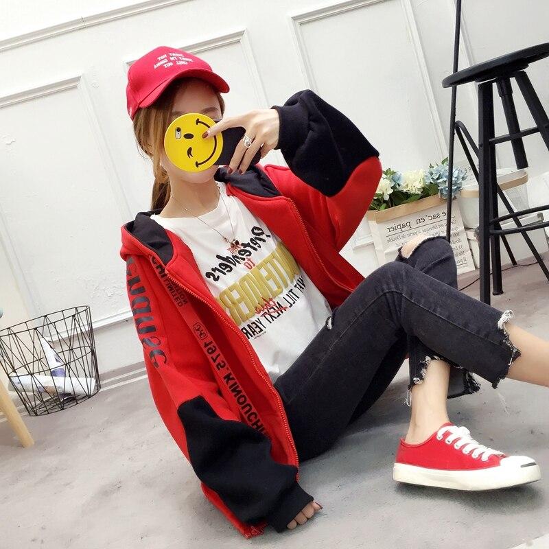 Patchwork Hoodie Pullover Woman Long Sleeve Hooded Sweatshirt 2019 Kpop Autumn Harajuku Tracksuit Sudaderas Mujer streetwear 34
