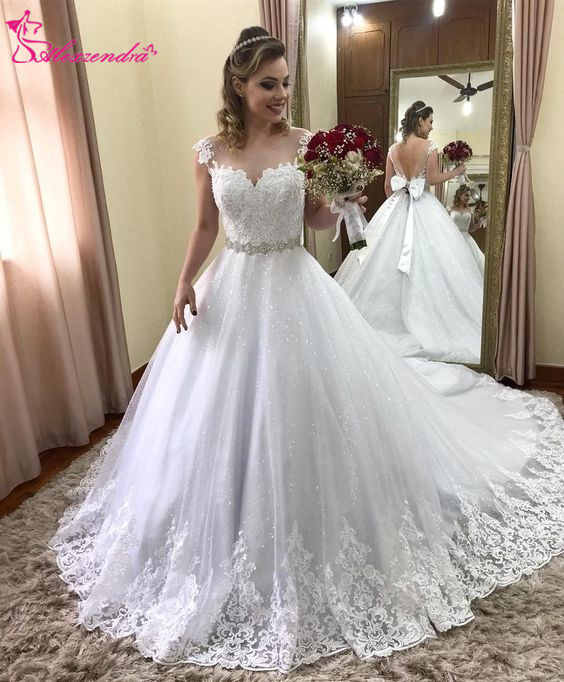 New Vintage Princess Ball Gown Wedding Dresses Beaded: Alexzendra Ball Gown Shiny Tulle Elegant Wedding Dresses