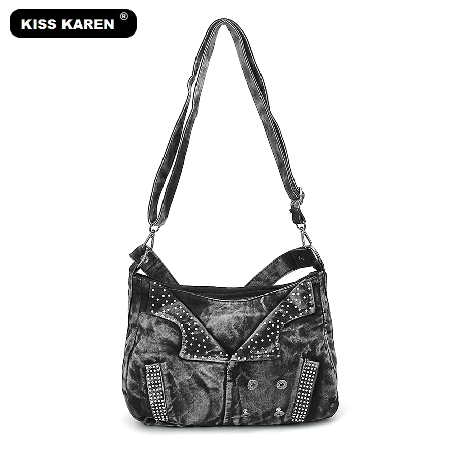 KISS KAREN Casual Fashion Women Bag Vintage Designer Denim Bags Women Satchels Women's Shoulder Bags Teenager Jeans Bag 0669 0 15 01 30 14 10 0[