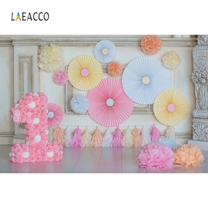 Image 2 - Laeacco Chic Wall Pillar Paper Flowers Umbrella 1st Birthday Scene Photography Backdrops Photo Backgrounds For Photo Studio Prop