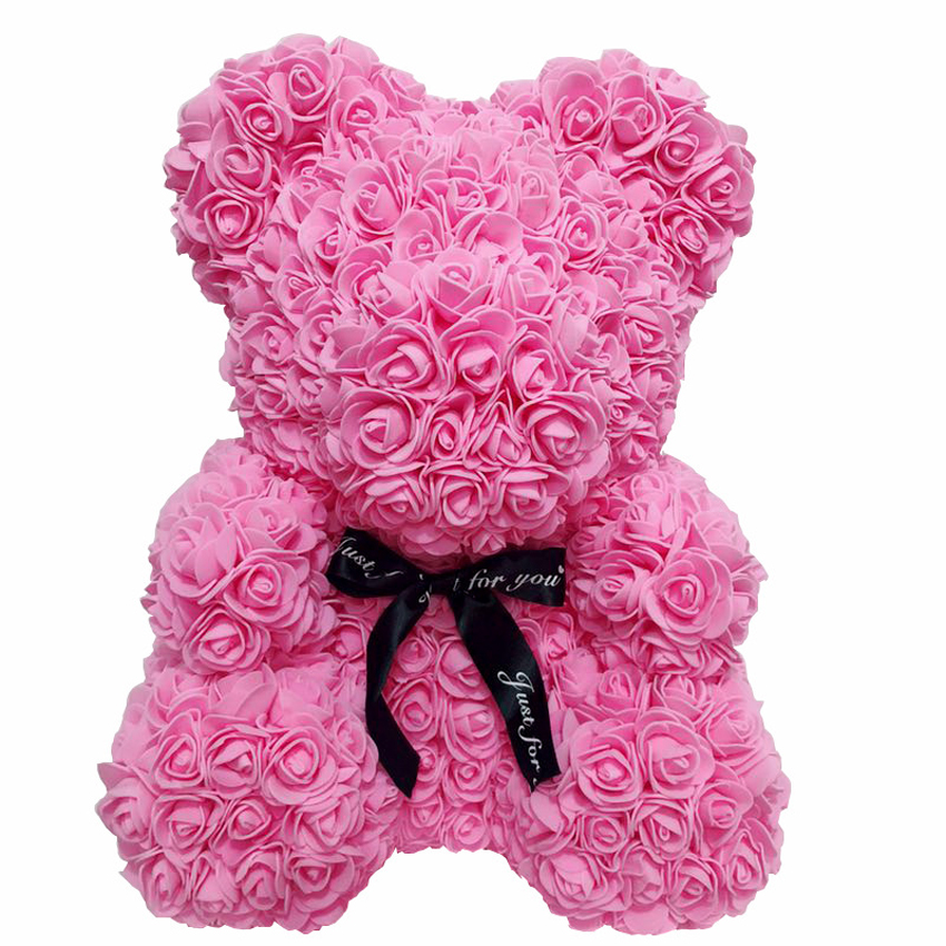 38*30cm Cute Rose Bear Toy Women Girls Wedding Decoration Teddy Bear Doll Anniversary Valentines Day Gift Large Drop Shipping Artificial & Dried Flowers Festive & Party Supplies