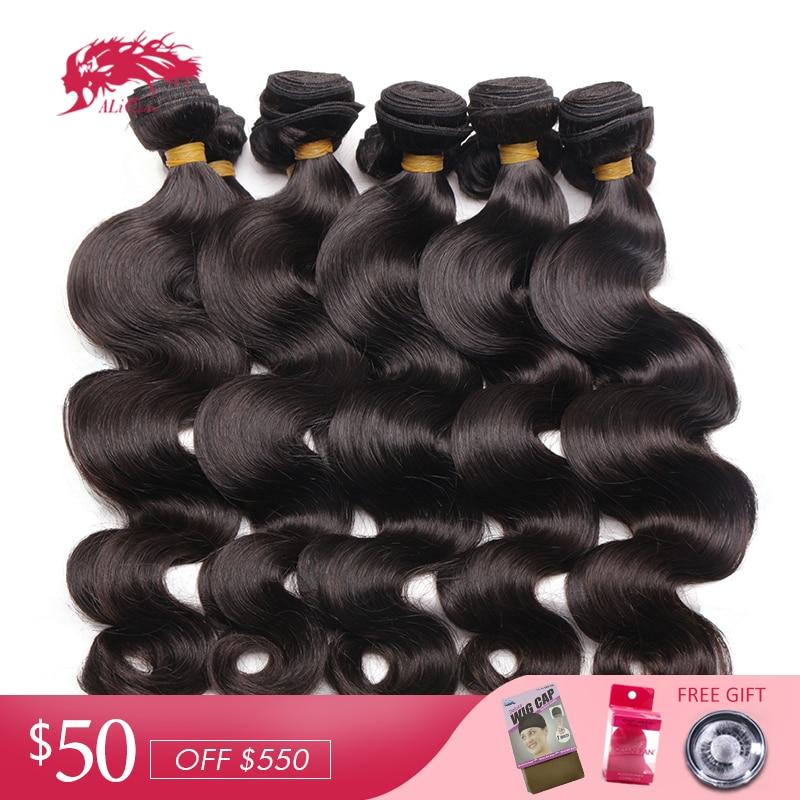 Ali Königin Haar Produkte Indische Körper Welle Haarwebart Bundles 10 Teile/los 100% Menschliches Haar Weben Natürliche Farbe Reines Haar Haarverlängerung Und Perücken