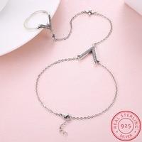 INALIS 925 Sterling Silver V Letter Finger Bracelets Bangles With Zircon Stone For Women Hands Fine