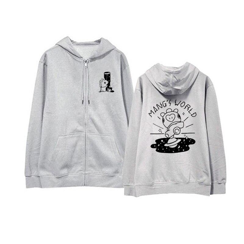 kpop Bangtan Boys J-HOPE JUNGKOOK Same paragraph Plus velvet Should aid clothes zipper Hooded Sweatshirt bts v warriors jacket
