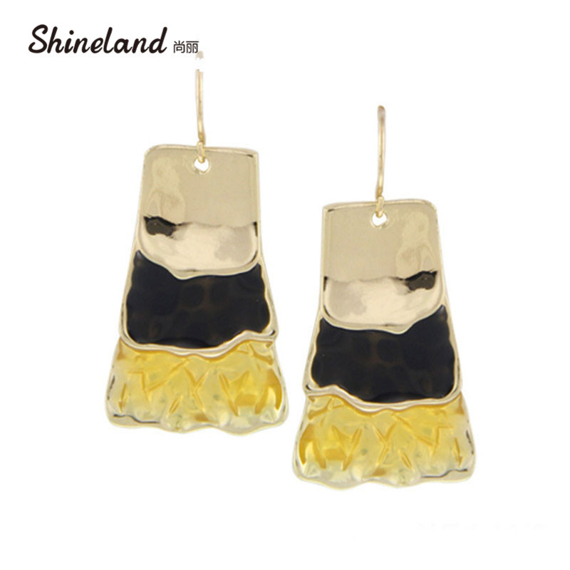 Shineland 2018 New Brincos Jewelry Long Earrings For Women Gold &Silver Plated Colorful Enamel Big Statement Earrings Wholesale