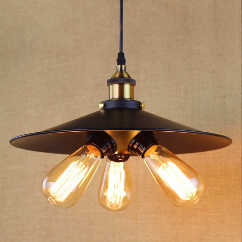 ФОТО Vintage Style Retro Rural Edison Loft Industrial Restaurant Wall Lamp pendant lamp Black skirt 3bulbs droplight