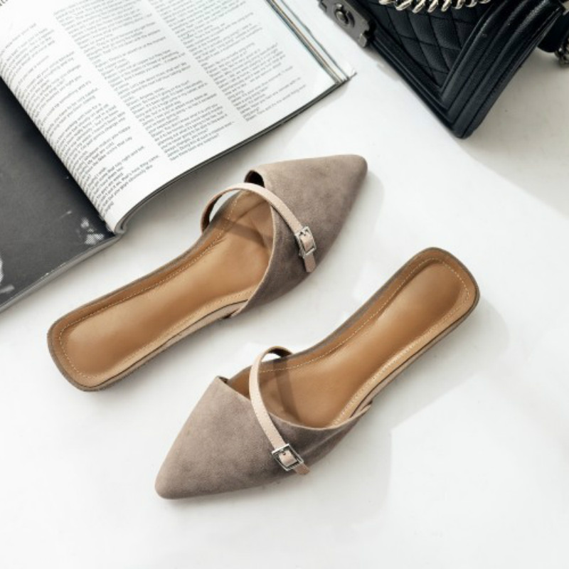 2017 Women Suede Closed Toe Slides Genuine Leather Pointed Toe Flat Mules Sandals Shoes Decorative Ladies Slippers meotina brand design mules shoes 2017 women flats spring summer pointed toe kid suede flat shoes ladies slides black size 34 39