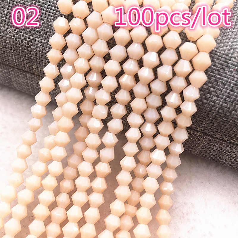Nowy 100 sztuk 4mm kryształowe koraliki austria urok szklany koralik koraliki dystansowe luzem koralik do tworzenia biżuterii kolczyki diy bransoletka