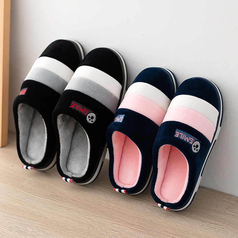 Women Indoor Slippers Warm Plush Anti Slip Lovers Home Slides 2019 Winter Shoes Woman Men House Floor Cotton Slippers SH072302