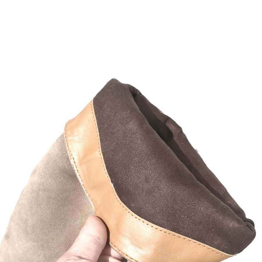 Cuir véritable daim bottes femmes talon haut pour automne genou haute bottes dames chaussures femme 36-42 - 6