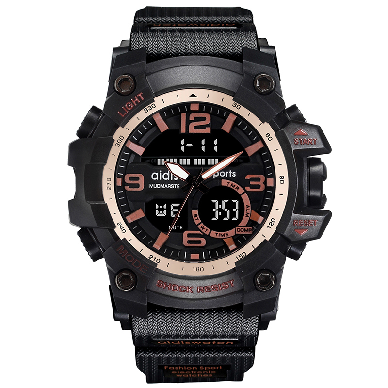 AIDIS Brand Men Sport Watch Outdoor Military Dual Display Digital LED Electronic Luminous Clock relogio masculino esportivo splendid brand new boys girls students time clock electronic digital lcd wrist sport watch
