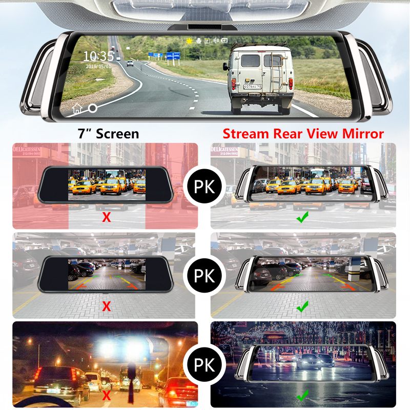 Image 3 - 10 Inch Touch Screen Stream Car DVR Rear View Mirror Dash Cam Full HD Car Camera 1080P Back Camera Dual Lens Video Recorder-in DVR/Dash Camera from Automobiles & Motorcycles