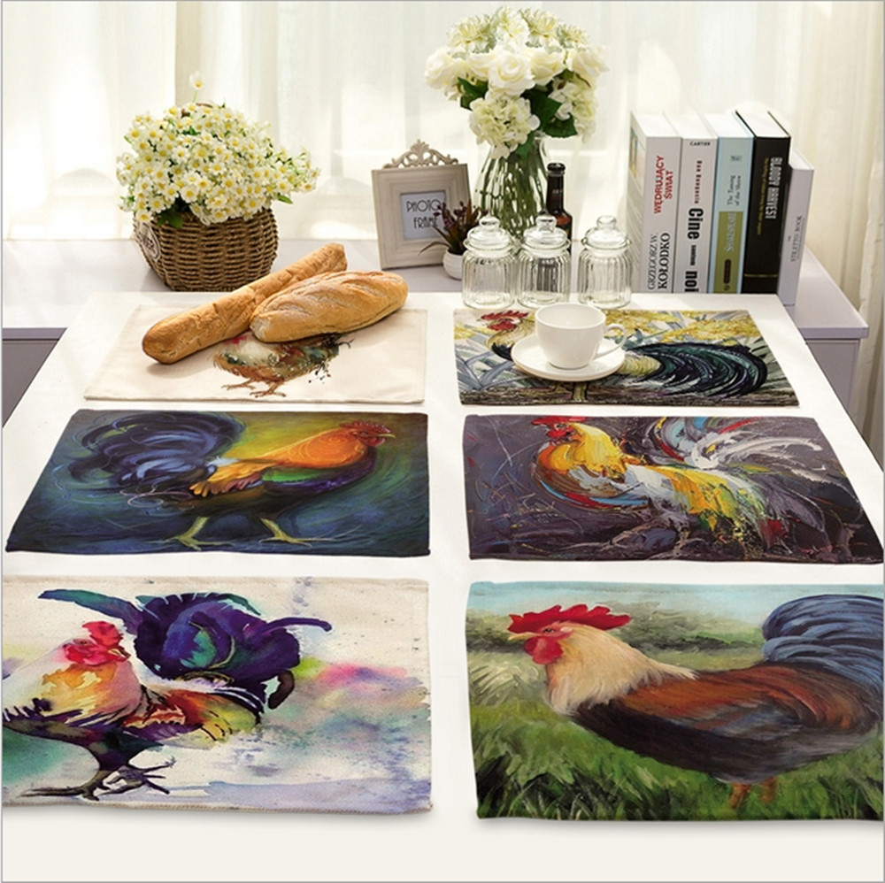 Home Decor Painted Rooster Placemat Linen Fabric Table Mat Dishware  Coasters For Kitchen Accessories Wedding Party