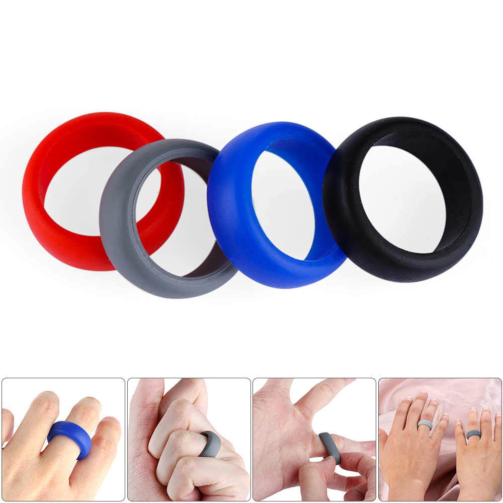 1Pc Women Men New Silicone Wedding Ring Men Elegant Flexible Rubber Band Comfortable Outdoor Sports Band Ring Fashion Jewelry