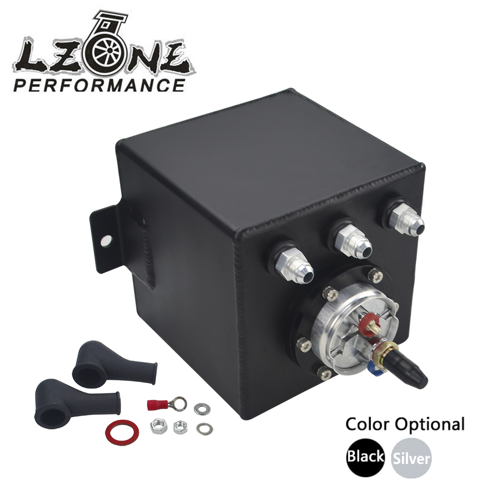 LZONE RACING - 2L BLACK BILLET ALUMINUM FUEL SURGE TANK / SURGE TANK + HIGH QUALITY EXTERNAL 044 FUEL PUMP JR-TK8344 tansky high q external 044 dual fuel pump anodized billet aluminum fuel surge tank tk yx6012 2k044