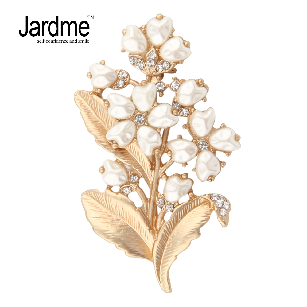 Jardme Lily of The Valley Plant Brooches Natural Pearl Crystal Golden Elegant Brooch Hijab Pin Badges Collar Clip Jewelry Gift