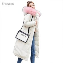 Brieuces Winter Coat Women Military Outwear Hooded Snow Long Parka Thicken Down Cotton Safari Style Warm Fur Jacket