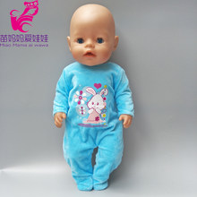 "43CM baby doll blue jumpsuit for 18"" 40CM new born baby doll clothes baby girl new year gifts(China)"