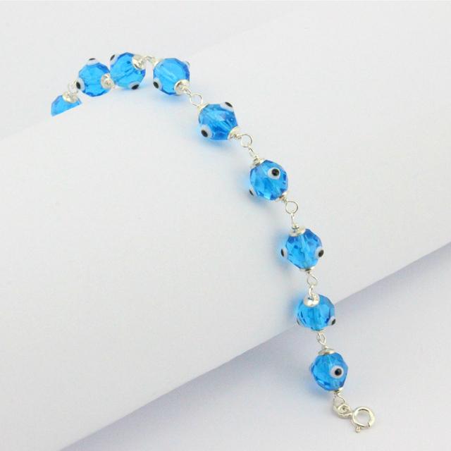 925 Sterling Silver Clássico Azul Turco Nazar Judaica Kabbalah Evil Eye Pulseira de Cristal Jóias Da Moda Artesanal