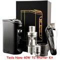 Original Tesla Nano 60W TC Box Mods E Cig Mods Starter Kit with Tornado Sub ohm Tank Kits Electronic Cigarettes Kits  YY