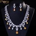 Africano de lujo CZ Diamond Joyería De La Boda de Plata Chapado En Cristal Amarillo Pendientes de Gota de Las Mujeres Collar de la Declaración Grande de la Pera Establece J010