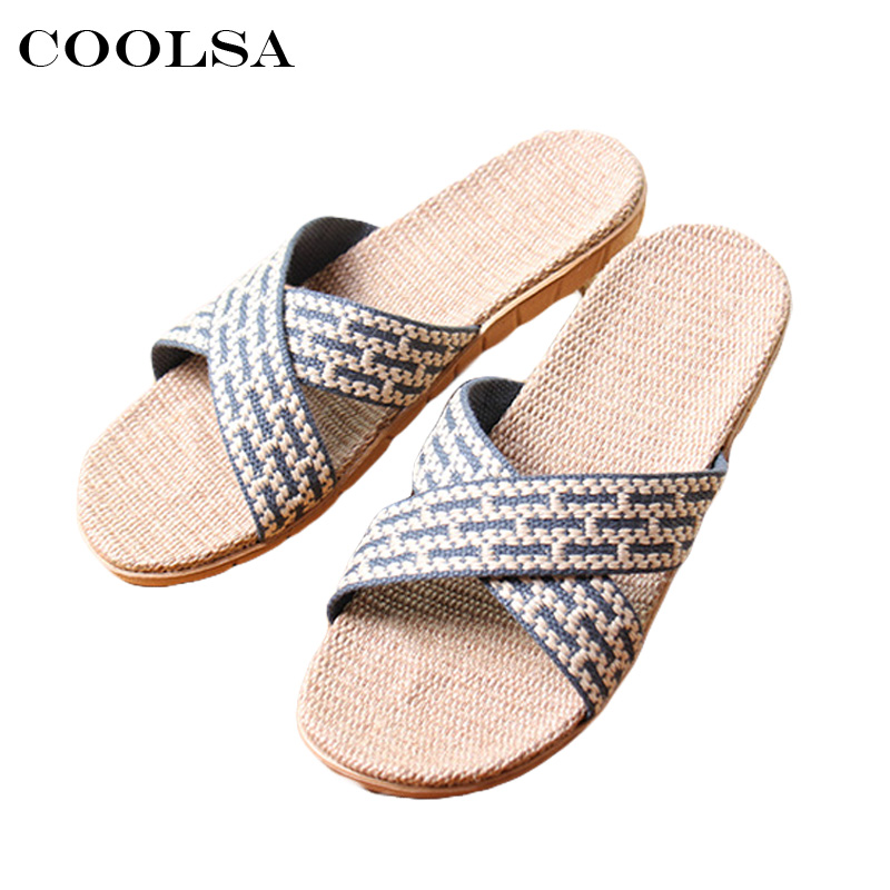 Coolsa New Summer Men Linen Slippers Cross-Tied Canvas Ribbon Flax Slides Flat Non-Slip Indoor Flip Flops Casual Beach Sandals coolsa women s summer flat non slip linen slippers indoor breathable flip flops women s brand stripe flax slippers women slides