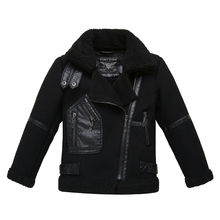 Winter boy with cashmere thick woolen jacket children's leather jacket boy wallets lapel children's clothing coat
