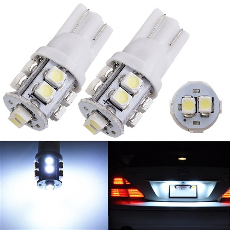 10 pcs LED T10 W5W 168 194 501 3528 10 SMD Auto Car Light License Plate Sidelight Bulb Pure White Car Light Source Parking