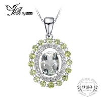 JewelryPalace Fashion 2ct Genuine Round Peridot Oval Green Amethyst Pendant Necklaces 925 Sterling Silver 45mm Chain