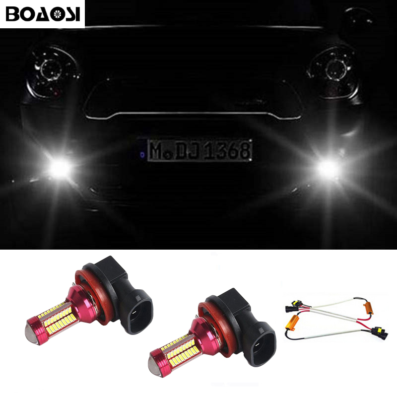 BOAOSI 2x Super White H8 H11 CREE Chip 4014SMD LED Fog Light Driving Bulbs No Error For Mercedes Benz W211 W212 W164 W221 boaosi 2x h11 h8 led canbus 4014smd bulbs reflector mirror design for fog lights for bmw e39 325 328 m mini sport