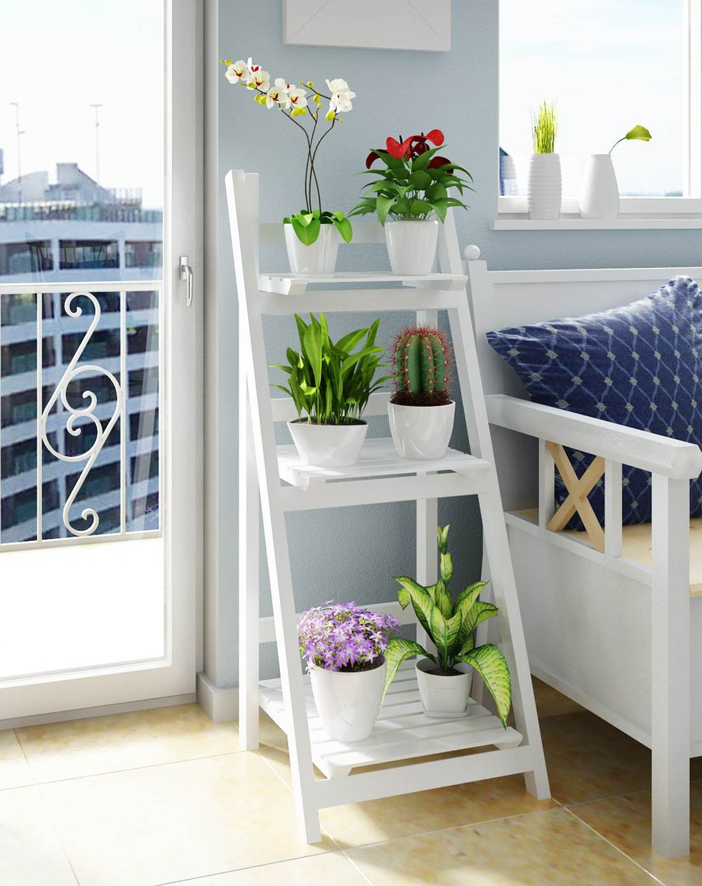 three showy white solid wood shelf bookcase floor balcony garden folding ladder racks simple on. Black Bedroom Furniture Sets. Home Design Ideas